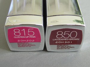 maybelline #815 & #850 high shine lipstick