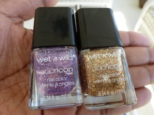 wet n wild its all in the cut and 24 carats nail polish