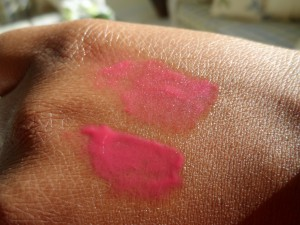 image of mac cremesheen astral and galaxy rose swatch